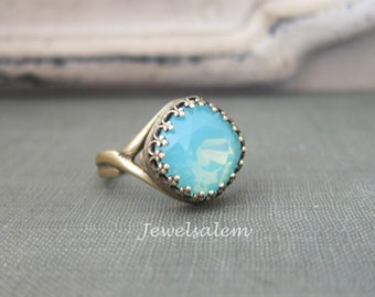 Opal Ring Mint Crystal Ring Aqua Ring Aquamarine Ring Opal Birthstone Gift Jewelry Statement Ring Adjustable Ring Friendship Ring