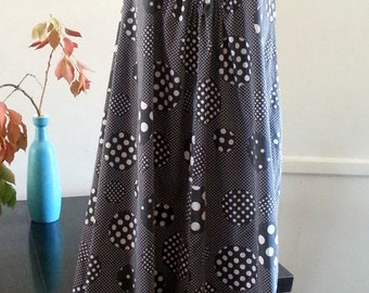 Polka dot maxi dress in charcoal grey vintage 70s