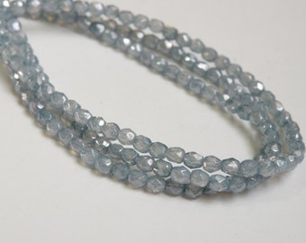 Denim Blue Opal Picasso finish fire polished Czech faceted glass round beads 4mm half strand NFP4-9