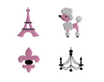 Mini Paris Embroidery Designs for Machine Embroidery-INSTANT DOWNLOAD
