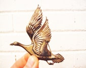 Vintage large shabby silver goose brooch  duck water fowl bird