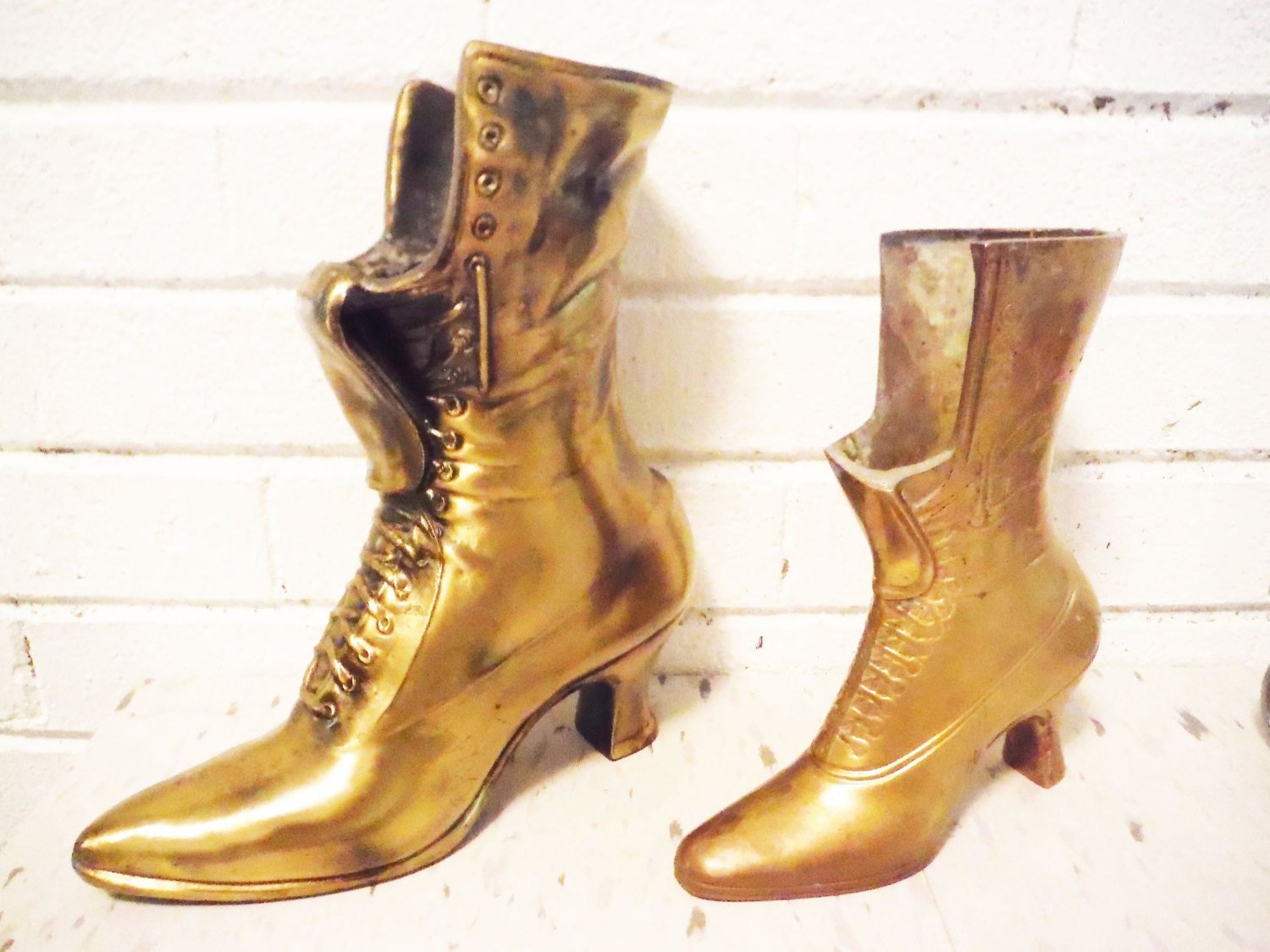 Brass Boot Shoe Planter Vase Ladies Lace Up Brass Spelter