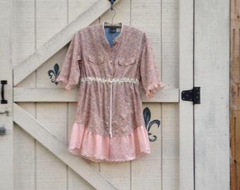 boho tunic M/hippie tunic/hippie Shirt dress, blush floral Artsy upcycled clothing