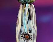 Murrini Vines Handmade Lampworked Glass Beads Set of Three OOAK Barrel Rondelles Amber Gold Blue Green Aqua Lampwork