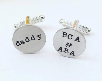 Custom Personalized Cufflinks - Hand Stamped Cufflinks - Cufflinks for Dad - Handstamped Cufflinks - Wedding Cufflinks - Custom Cufflinks