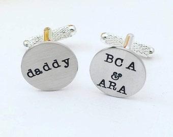 Custom Personalized Cufflinks - Hand Stamped Cufflinks - Cufflinks for Dad - Handstamped Cufflinks - Wedding Cufflinks - Custom Cufflinks