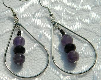 Amethyst and Onyx in Teardrop Earrings