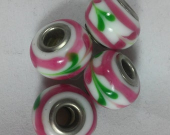 4  Beads - Pink and Green Patterned Glass Beads, 5mm core