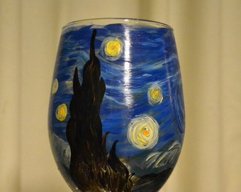 Hand Painted Starry Night Wine Glass