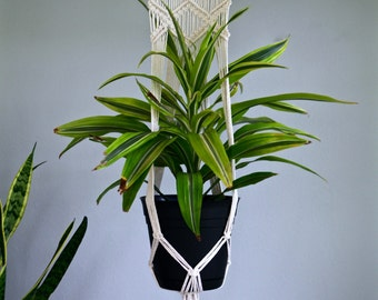 "Macrame Plant Hanger - Natural White Cotton Rope on 12"" Dowel - Modern Indoor Hanging Planter - Boho Home, Nursery Decor - Ready To Ship"