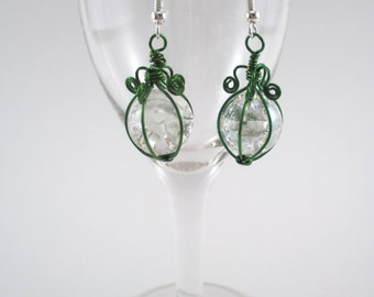 Green Wire Wrapped Fried Marble Earrings, Sparkly, Curly Lamp Top