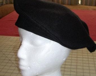 Black Wool Tudor Hat/Cap