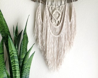 Boho Macrame Wall Hanging /Bohemian  Rustic Earthy Hippie / Tree Branch Hanging, OOAK, Wool Yarn