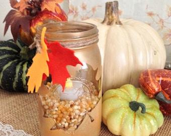 Fall Mason Jar Candle Tea Light  Fall Candle Holder Candy Jar Quart Soy Candle Autumn Decor Table Centerpiece Farmhouse Wedding Decor