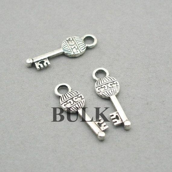 key charms bulk order antique silver 30pcs zinc