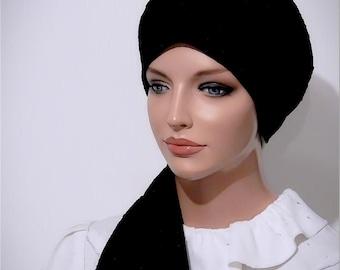 Slip On Fitted Head Scarf Tichel Turban Cap Snood Mitpachat Black Jacquard Rose Print Tznius Modest