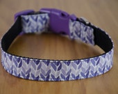Buckle Dog Collar, Lovey, purple knit print, size medium