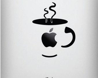 "iPAD - Coffee Cup - iPad - Vinyl Decal Sticker - Yadda-Yadda Design Co. (3.25""w x 4""h) (BLACK)"