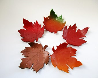 Autumn Leaves ~~ Polymer Clay Leaf Tealight Holder ~ Maple Leaf