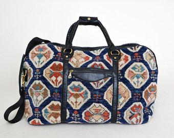 1960s Carpet Travel Bag Large Jeweled Kaleidoscope Wool & Leather Bright Colorful Luggage Bag Duffle Carry on Travel Bag