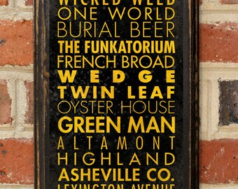 Craft Breweries of Asheville NC Wall Art Plaque Sign Home Decor Scroll Vintage Style Gift Present Beer Brewery Ale Stout Pilsner IPA