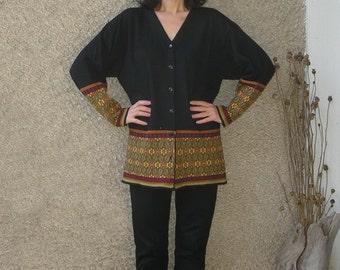 Vintage 80s Wool-Acrylic Cardigan Jacket size S-M