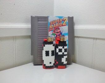Shy Guy Perler Bead LIGHTER CASE - nintendo - snifit - mario - luigi - toad - item block - mushroom