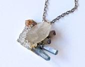 Minerals Pendant/Necklace-mix of Quartz Crystals,Tourmaline,Pyrite and Hessonite Garnet