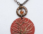 Fall Jewelry, Thanksgiving - Brass Embossed Tree Pendant Necklace