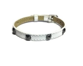 White Leather Stud Buckle Bracelet -  GunMetal Tone Pyramid  Studs - 8mm  Strap -  Adjustable - Layering Bracelet