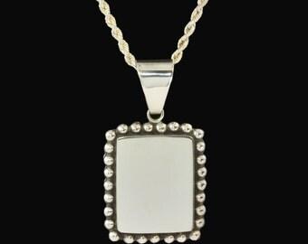 Vintage Sterling Silver Pendant - Rectangle Vintage Silver Pendant, Beaded Border Oblong Pendant, 925 silver, gift for her, gift under 50