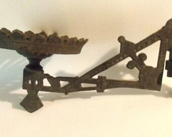 Vintage cast metal Oil Lamp hanger swing arm bracket