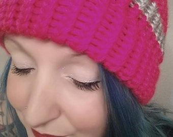 Breast Cancer Awareness Hot Pink knit hat beanie with gray stripe