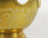 Pedestal Etched Solid Brass Bowl / Decorative Bowl / Catchall Bowl / Hollywood Regency Bowl / Marked India