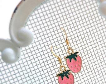 Girls Strawberry Earrings Strawberry Shortcake Girl's Earrings Summer Pink