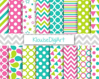 Hot Pink, Turquoise Blue and Green Colorful Summery Digital Patterned Papers, Scrapbook JPEG, Personal and Small Commercial Use - 0093