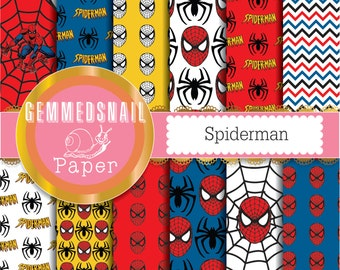Spiderman digital paper 12 spiderman backgrounds, black, red, white, blue and yellow