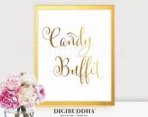 CANDY BUFFET Gold Foil Print Candy Bar Sign Wedding Reception Signage Dessert Station Poster Decor Calligraphy Keepsake Bride Groom 8x10 5x7