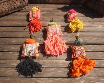 Set Of 5 Hmong Vintage Textile Key chains, Bag Decorations