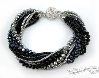 Gray multi strand crystal bracelet gray beaded jewelry multi strand bracelet gray crystal bracelet sparkly evening bracelet gift for her