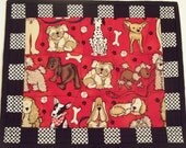 Quilted Snack Mat -Whimsical Dogs   Mug Rug -  For Dog Lovers