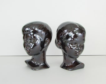 Vintage Ceramic Bust Sculpture - 1970s Girl and Boy Statues in Ebony Mirror Glaze - Holland Mold