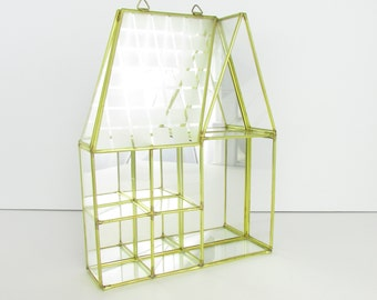 Home Sweet Home Glass House Display - Vintage 1980s Brass Glass Curio Cabinet