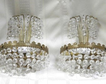 PAIR Vintage Sconces Antique French Sconces Electric Sconces Rewired Sparkling Crystal Prisms VERY Pretty!