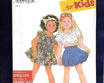 Vintage 1990's Simplicity 9570 Girl's Dress Top And Shorts, Sizes 3, 4, 5, 6, UNCUT