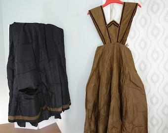1908 Taffeta Skirt and Apron Dress