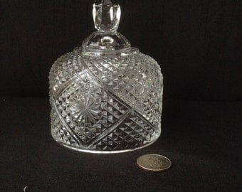 Vintage Pressed Clear Glass Butter Dish Dome Lid by Avon