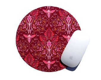 Bee Keeper Mouse Pad / Vintage Inspired Holiday Gift Home Decor / Dark Red Pink Damask / Office Desk College Dorm Room
