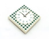 Vintage wall clock from Germany 70s, Wall clock plastic, Green modern pattern,
