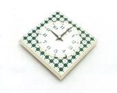 Vintage wall clock from Germany 70s, Wall clock plastic, Green modern pattern,